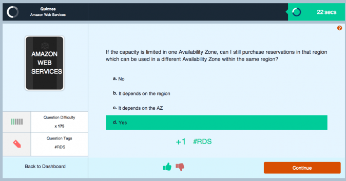 AWS quizzes and learning statements on CloudAcademy.com screen 1