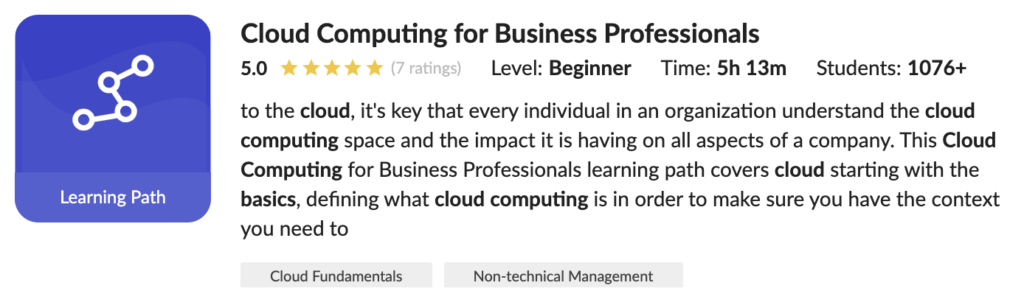Learning Path on Cloud Computing for Business Professionals