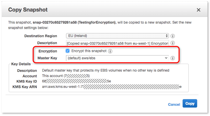Snapshot Encryption Master Key