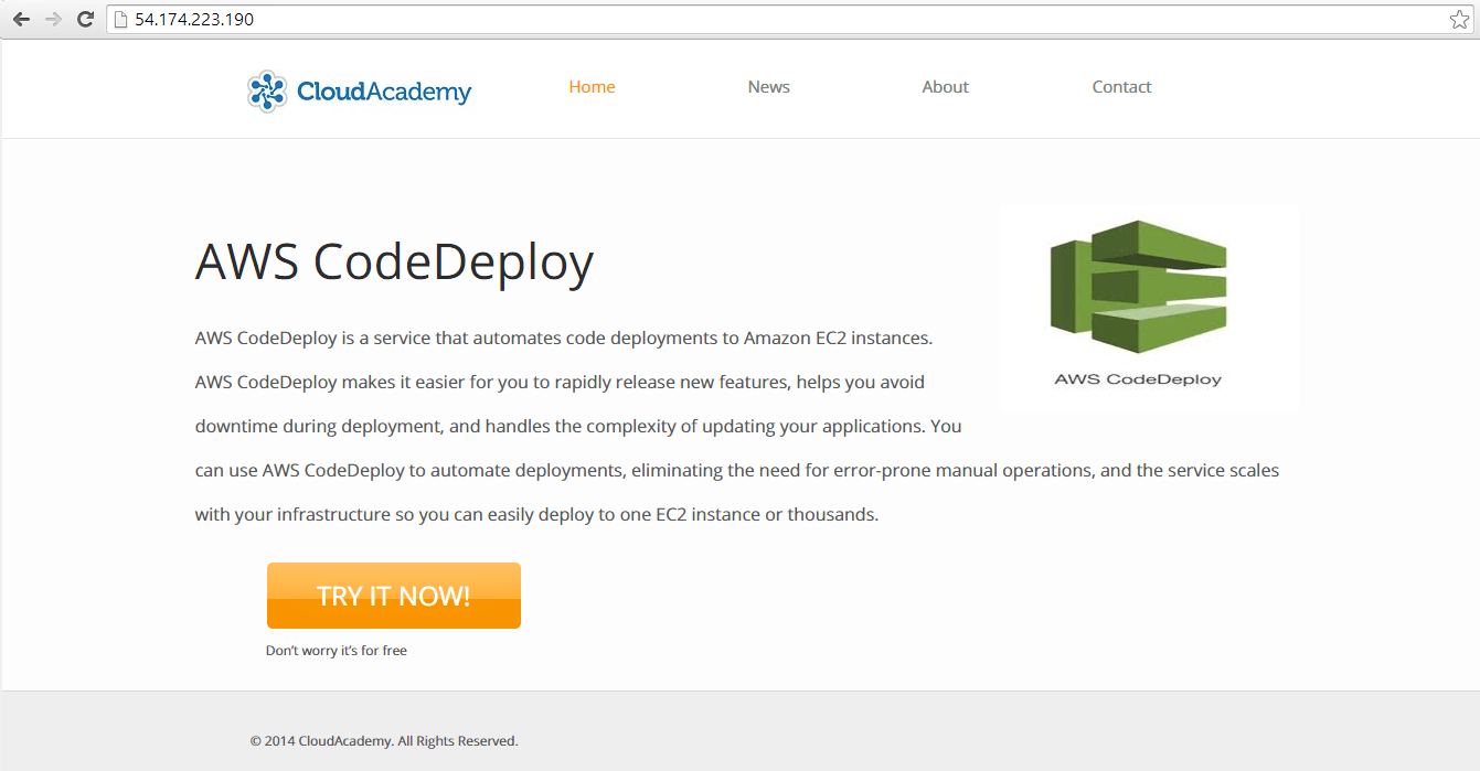 Updated AWSCodeDeploy Application