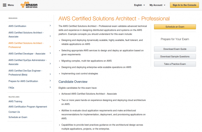 AWS Certifications Study Guide, part 5: AWS SA PL