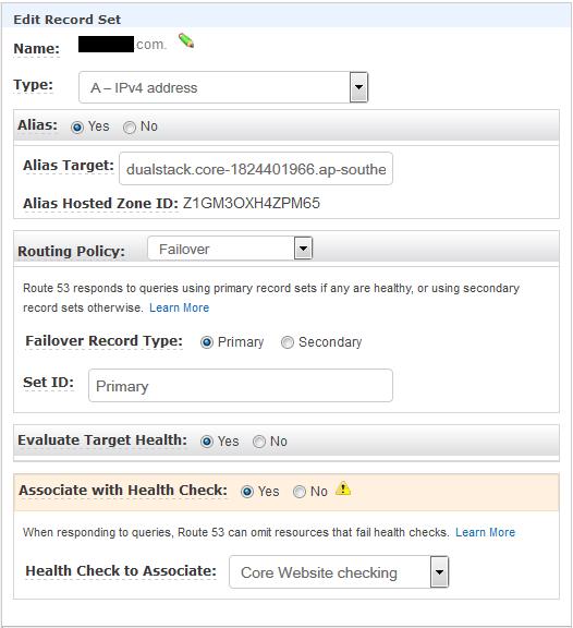 AWS Route 53 Primary DNS Record Set