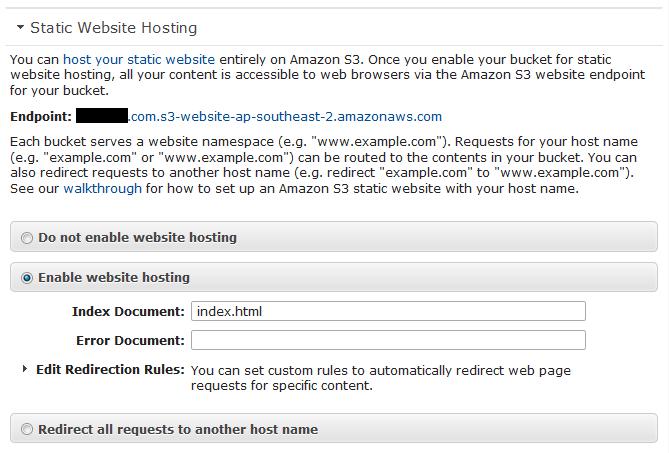 AWS S3 Static Website Hosting