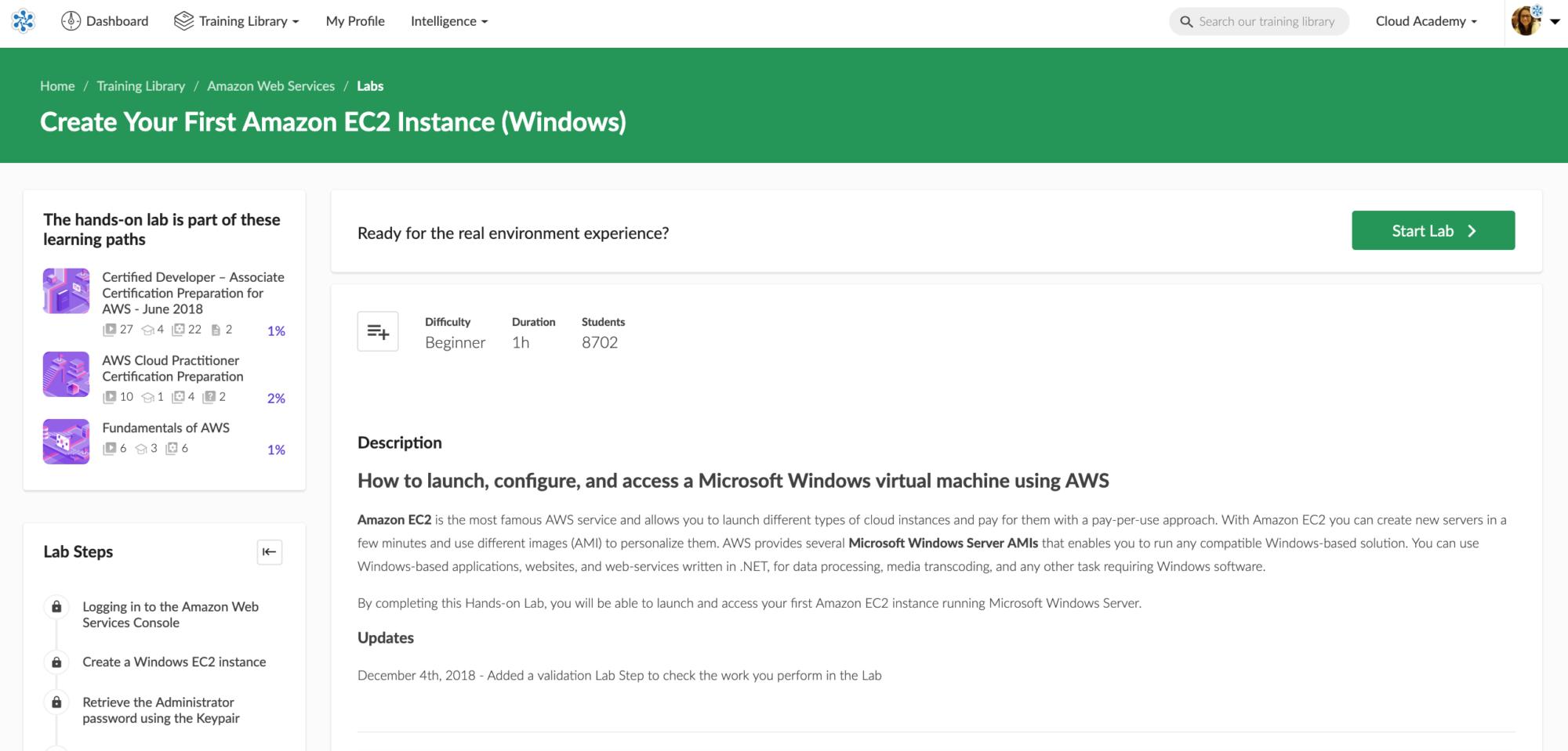Create Your First Amazon EC2 Instance (Windows) Lab