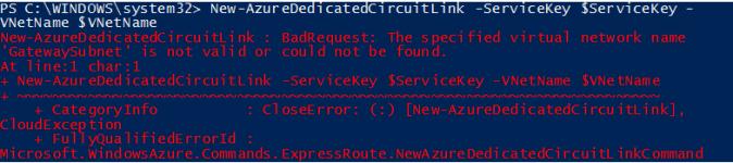 ExpressRoute error message