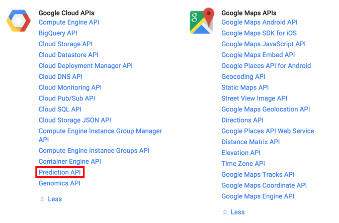 Google Prediction API list