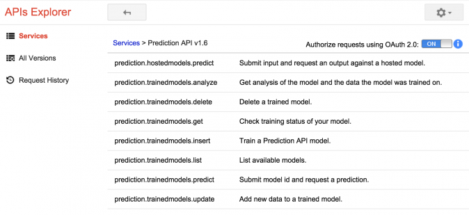 Google Prediction API Explorer