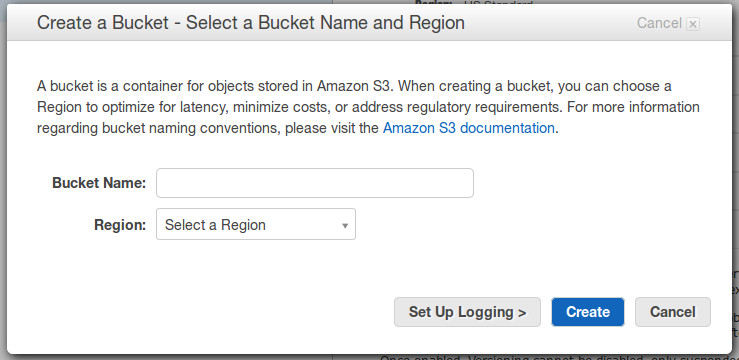 Data Backup: Create a bucket, select a bucket name and region
