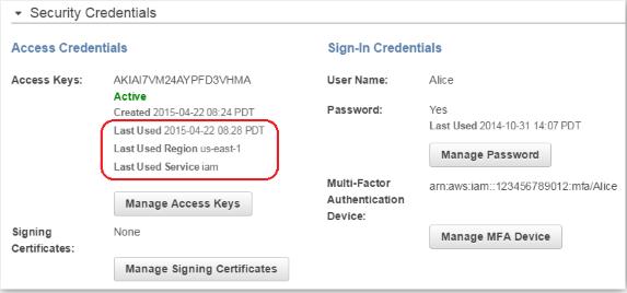 AWS IAM console security credentials