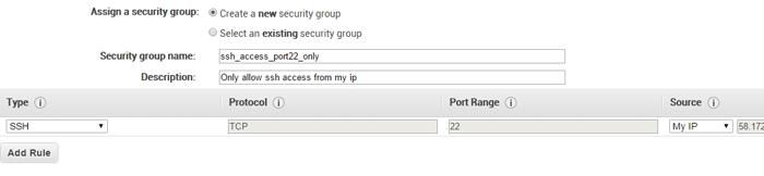 AWS Security - Create a new security group