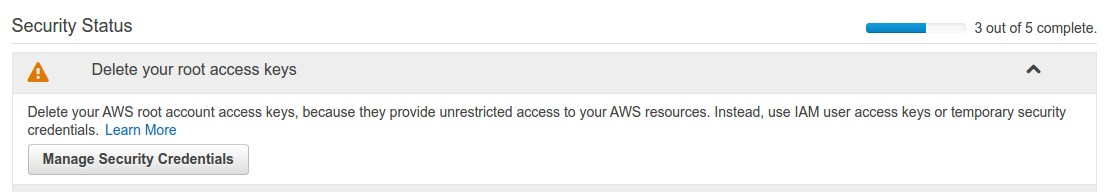 AWS Security security status