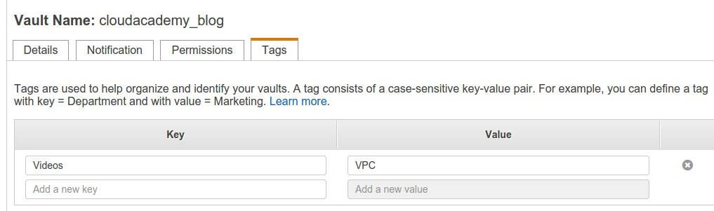 AWS tags key and value set up