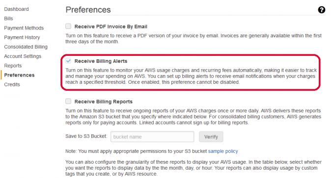 AWS Billing Dashboard, Preferences/Billing Alerts