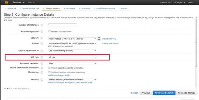 AWS IAM instance configure instance details