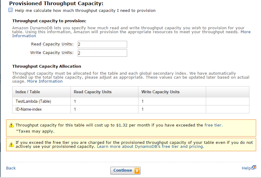 AWS Lambda provisioned throughput capacity