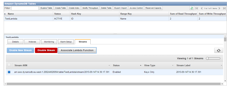 AWS Lambda streams tab