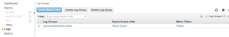 AWS CloudWatch create metric filter button