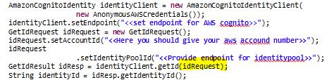 Amazon Cognito ID request
