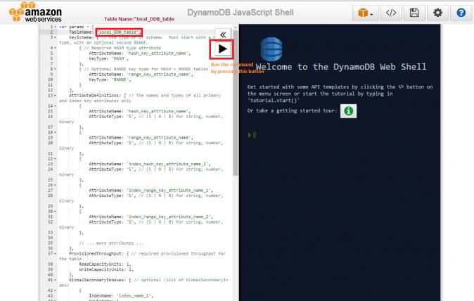 Amazon DynamoDB - createTable API