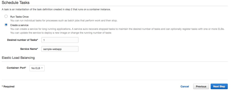EC2 Container Service Scheduling Tasks