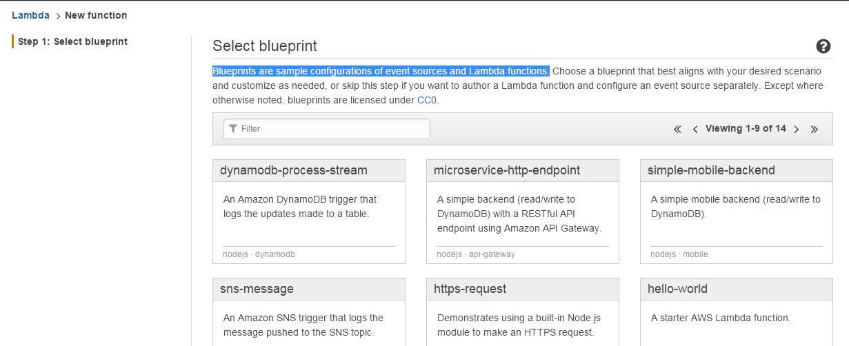 AWS Lambda select blueprint