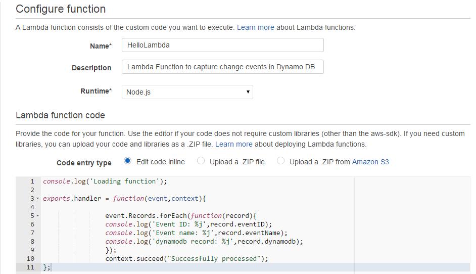 AWS Lambda configuring function