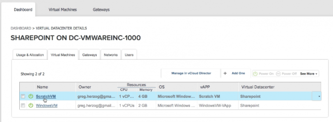 vCloud Air - Dashboard Sharepoint on DC-CVWareInc