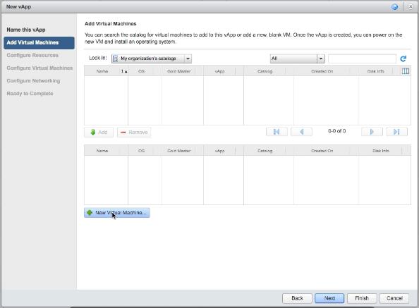 vCloud Air new vApp window