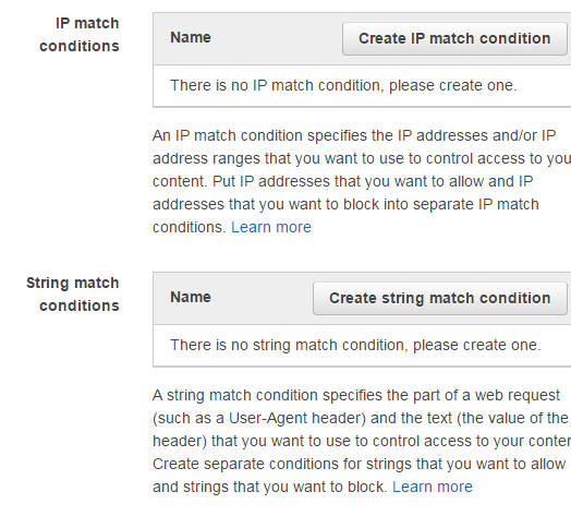 AWS WAF IP match conditions