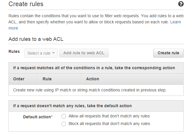 AWS WAF creating rules