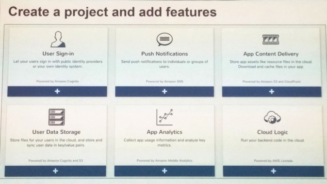 AWS Mobile Hub Create a Project and Add Features Screen