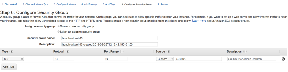 Configure Security Group