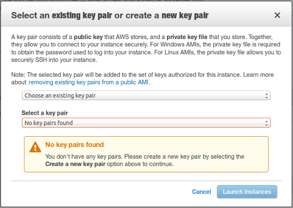 Select existing key pairs or create a new key pair screenshot