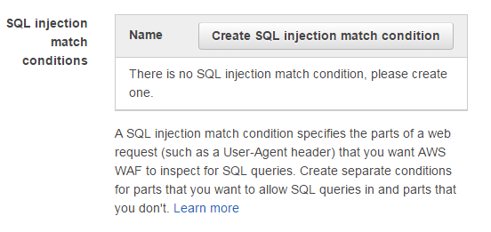 AWS WAF SQL injection match conditions