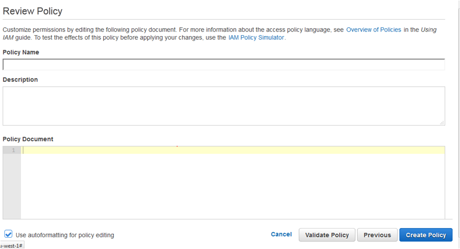 AWS IAM Review policy