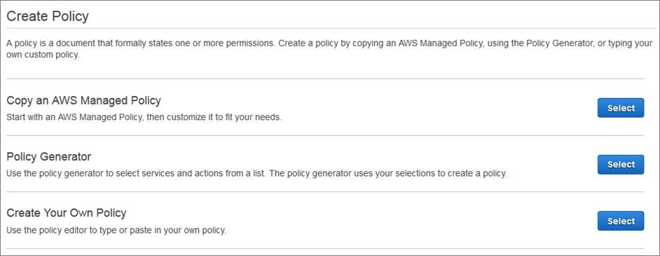create AWS IAM policy