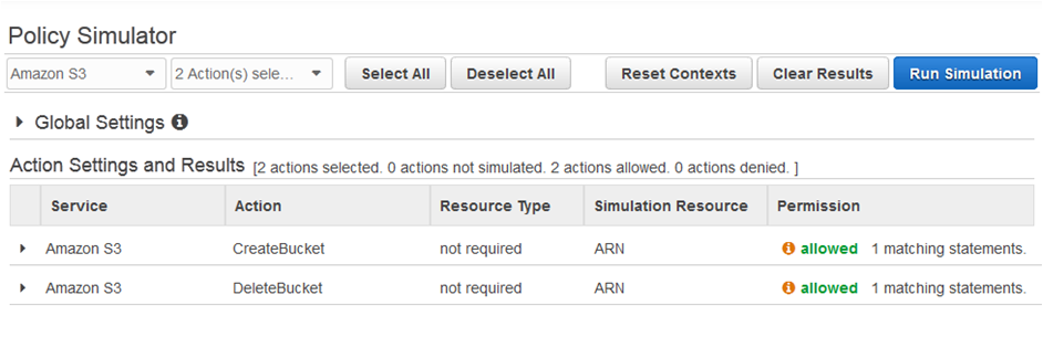 AWS IAM policy allowed settings