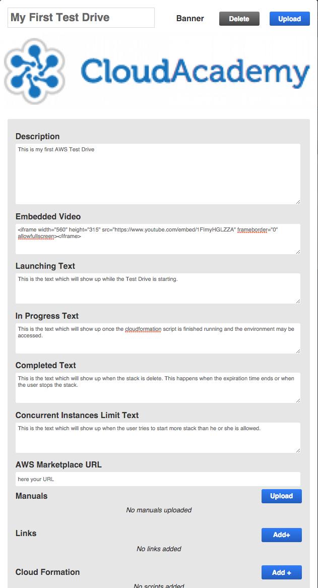AWS Test Drive - first