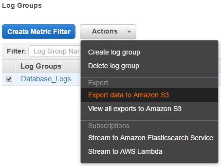 Exporting AWS CloudWatch Logs