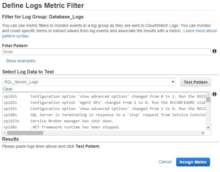 Creating Filter Pattern for aws CloudWatch Metric Filter