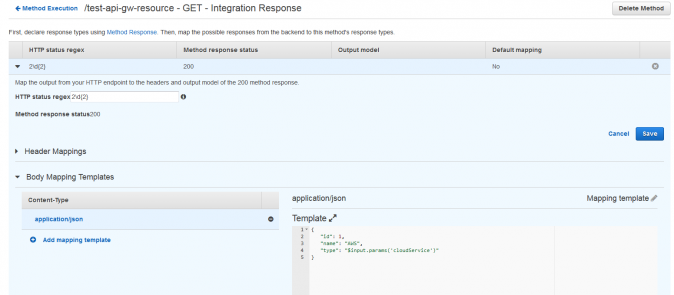 API Gateway API Integration Response