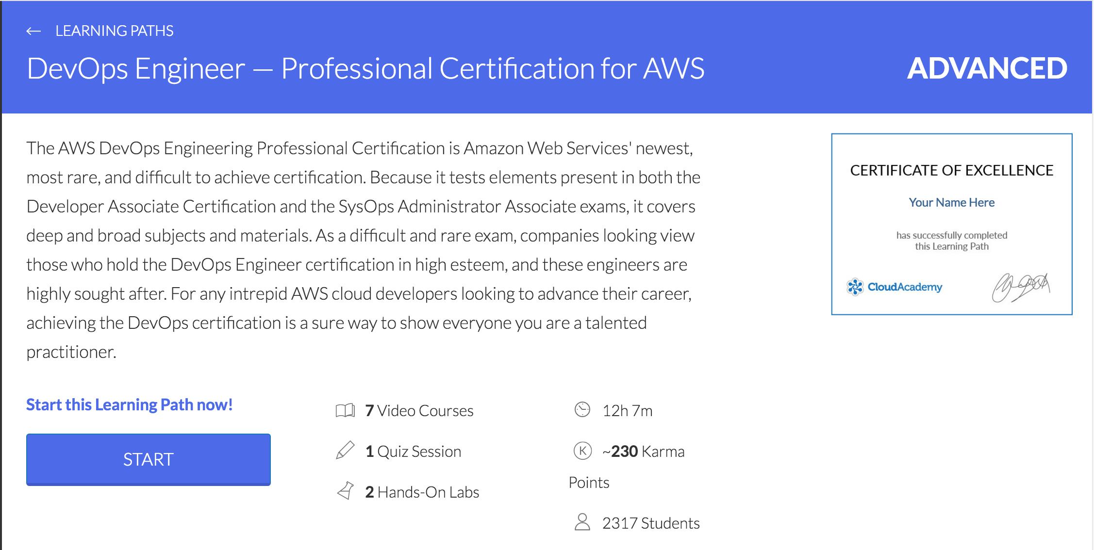 Cloud Academy DevOps Learning path