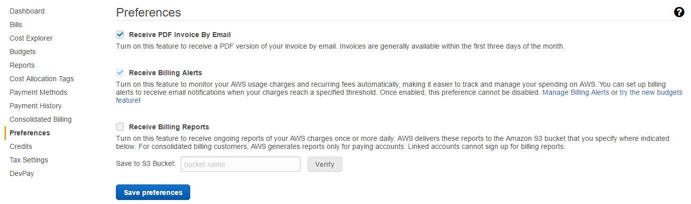 AWS billing preferences