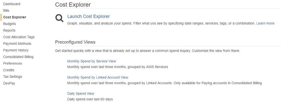AWS Cost Explorer dashboard