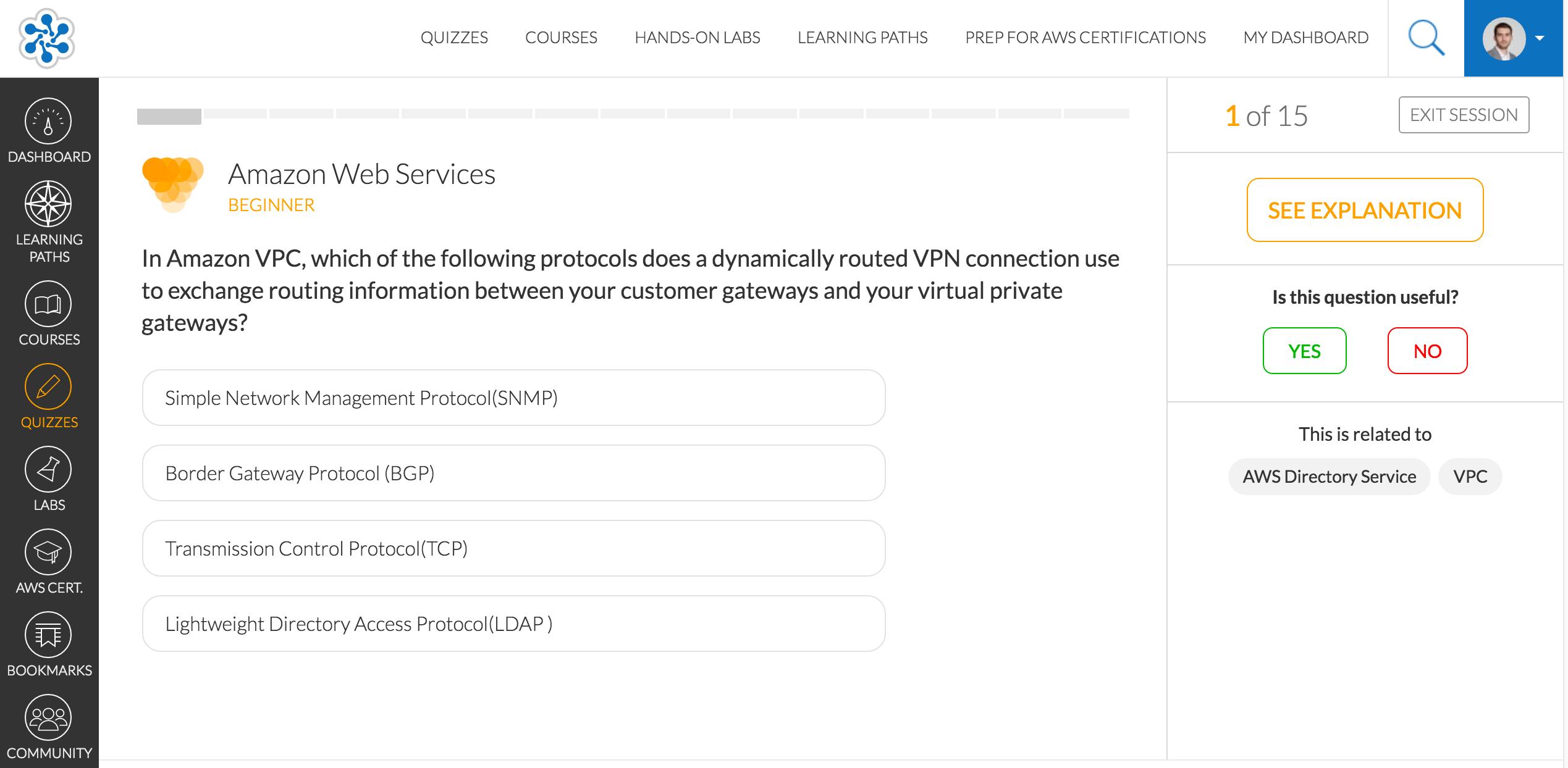 Cloud Academy quiz screenshot