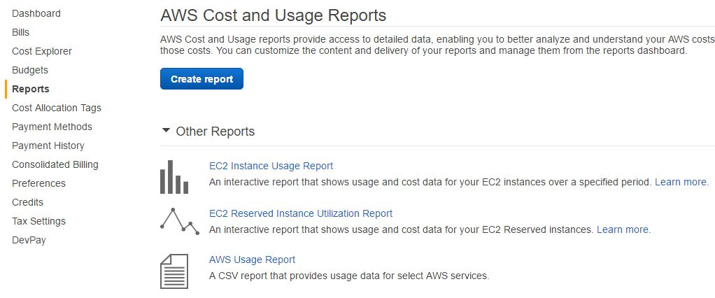 AWS Cost and Usage Report console