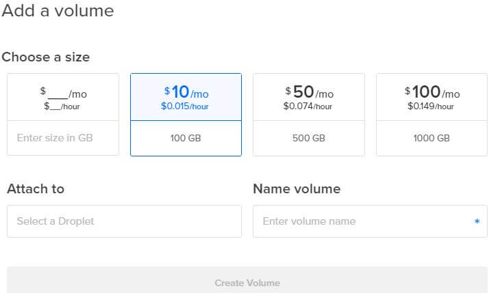 Creating DigitalOcean Block Storage Volume