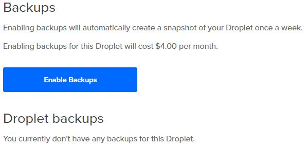 DigitalOcean Scheduled Backups
