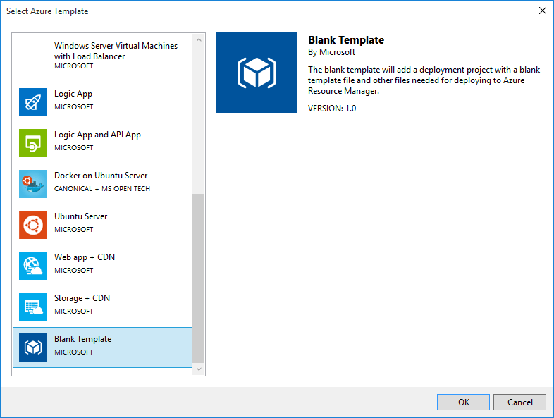 Select Azure Template