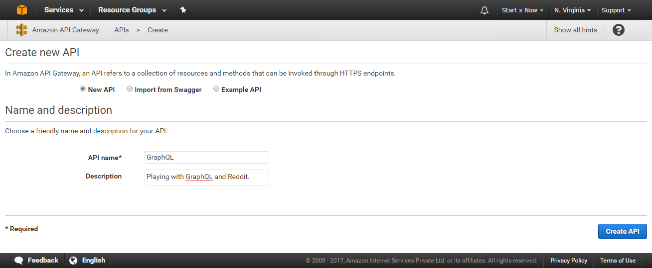 AWS API Gateway - New API